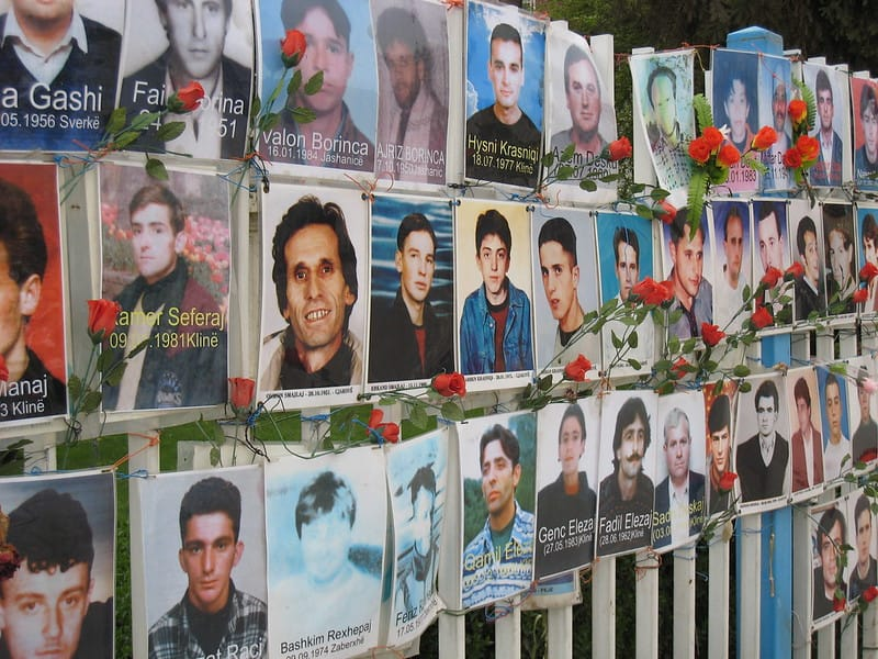 Wall of remembrance, Pristina, Kosovo, April 2008