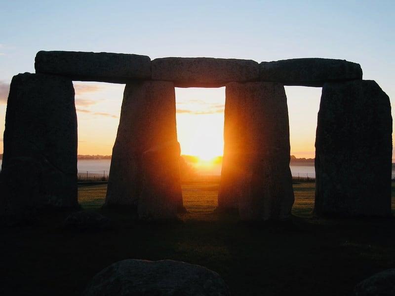 Stonehenge, sunrise over Salisbury Plain