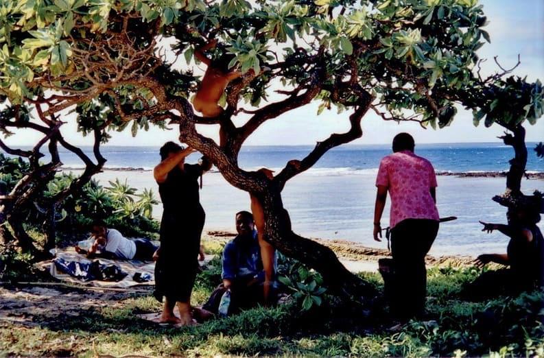 Playing at the beach at Tongatapu, Tonga