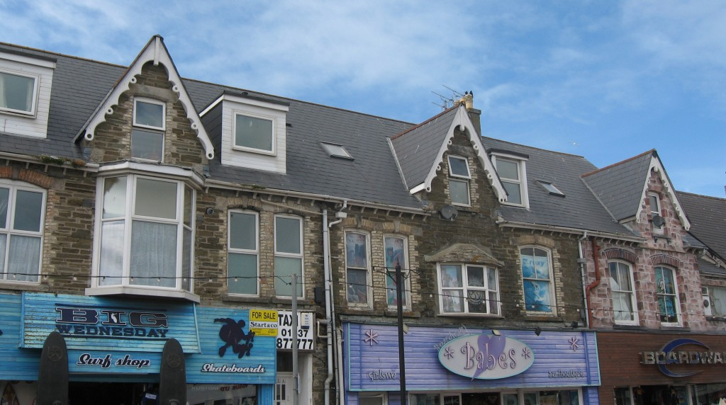 Street scene, Main street, Newquay, Cornwall