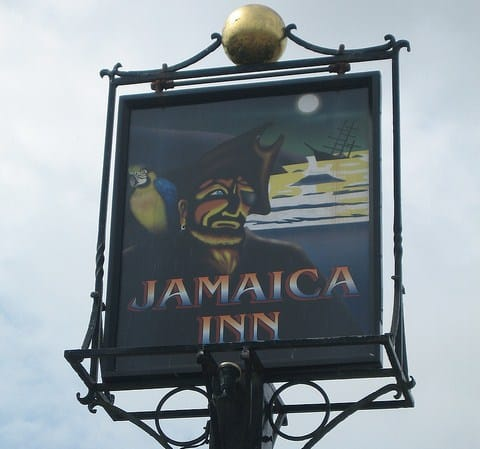 Sign at Jamaica Inn, Bolventor, Bodmin Moor, Cornwall