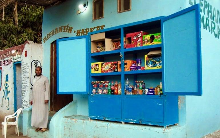 Aswan, Egypt, Elephantine Island, market shop