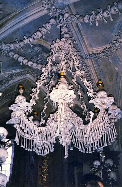 Sedlec ossuary, bone church, chandelier