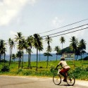 Cycling past the beach, Dominica