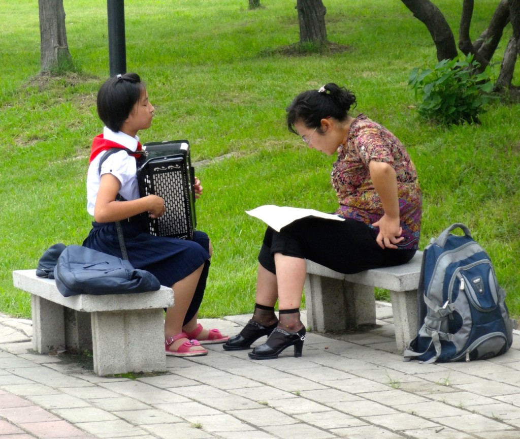Accordion lessons in the park, Pyongyang